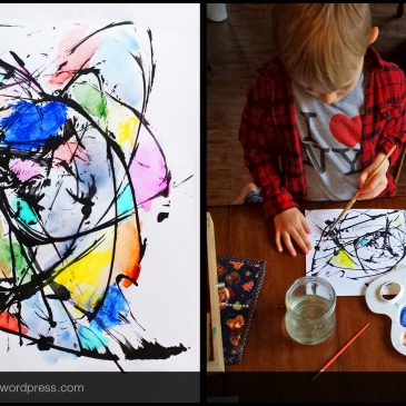 Kids paint with string